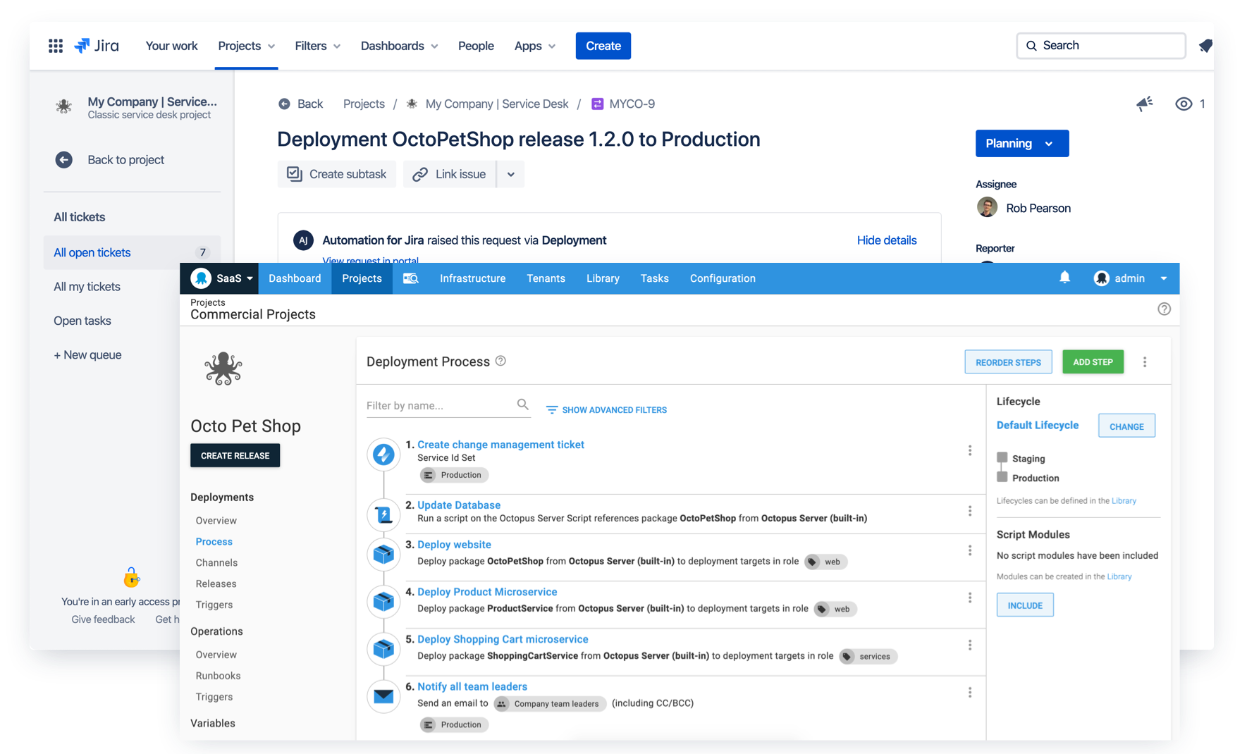 Integrated change management with Jira Service Desk and Octopus deployments